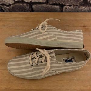 Keds Khaki & Cream Striped Sneakers Size 7.5